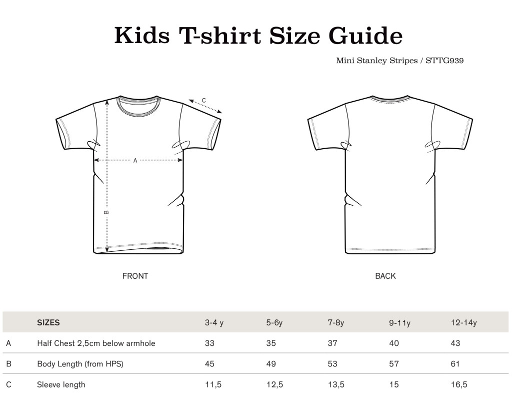 Sas and Yosh Unisex Kids T-shirt Size guide