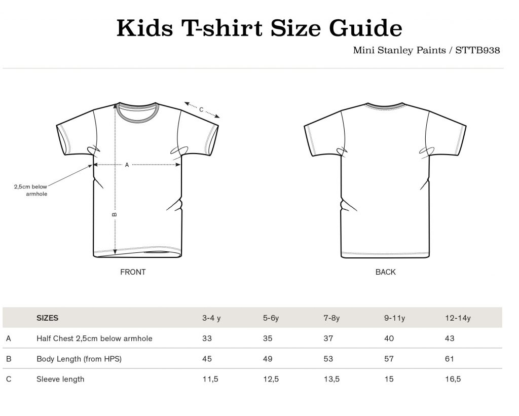 kids tee size guide STTB938